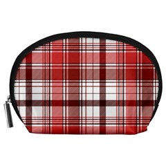 Red Abstract Check Textile Seamless Pattern Accessory Pouch (large)