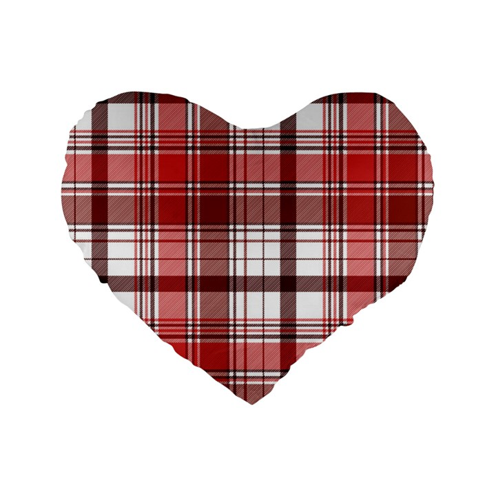 Red Abstract Check Textile Seamless Pattern Standard 16  Premium Flano Heart Shape Cushions