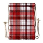 Red Abstract Check Textile Seamless Pattern Drawstring Bag (Large) Front