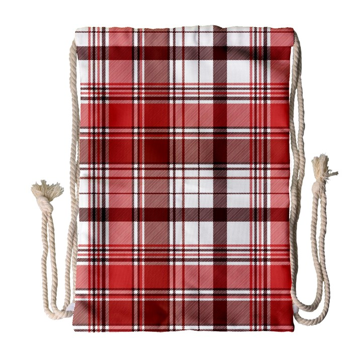 Red Abstract Check Textile Seamless Pattern Drawstring Bag (Large)