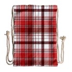 Red Abstract Check Textile Seamless Pattern Drawstring Bag (Large) Back