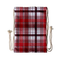 Red Abstract Check Textile Seamless Pattern Drawstring Bag (small)
