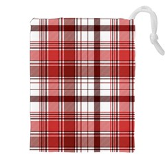 Red Abstract Check Textile Seamless Pattern Drawstring Pouch (2xl)