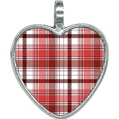Red Abstract Check Textile Seamless Pattern Heart Necklace