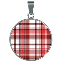 Red Abstract Check Textile Seamless Pattern 30mm Round Necklace