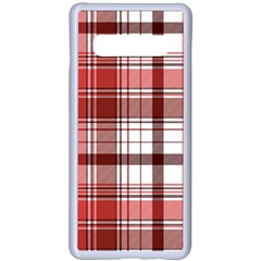 Red Abstract Check Textile Seamless Pattern Samsung Galaxy S10 Plus Seamless Case(white)