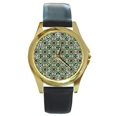 Soul Reflection Round Gold Metal Watch by deformigo
