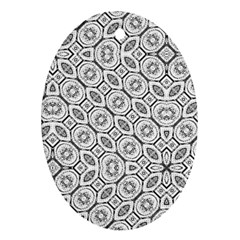 Black And White Baroque Ornate Print Pattern Ornament (oval)