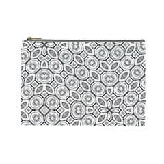 Black And White Baroque Ornate Print Pattern Cosmetic Bag (large) by dflcprintsclothing