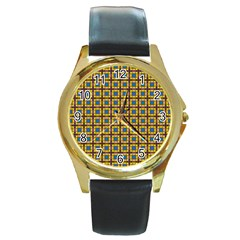 Montezuma Round Gold Metal Watch