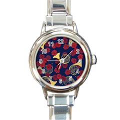 Roses French Horn  Round Italian Charm Watch by BubbSnugg