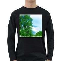 Airbrushed Sky Long Sleeve Dark T Shirt