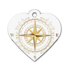 Points Of The Compass Navigation Compass Map Dog Tag Heart (one Side) by Bejoart