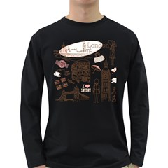 I Love London Drawing Long Sleeve Dark T Shirt