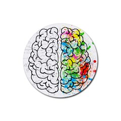 Brain Mind Psychology Idea Drawing Rubber Coaster (round)