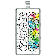 Brain Mind Psychology Idea Drawing Rectangle Necklace