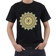 Motif Circle Vintage Circular Pattern Men s T Shirt (black) (two Sided)