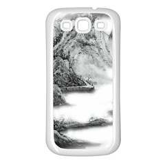 Ink Wash Painting Mountain Rolling Mountains Samsung Galaxy S3 Back Case (white)