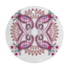 Pink Flower Cartoon Round Ornament (two Sides)