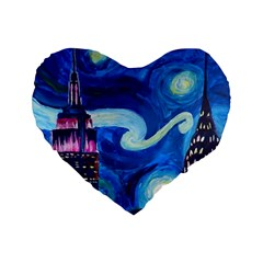 Starry Night In New York Van Gogh Manhattan Chrysler Building And Empire State Building Standard 16  Premium Heart Shape Cushions