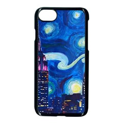 Starry Night In New York Van Gogh Manhattan Chrysler Building And Empire State Building Iphone 7 Seamless Case (black)