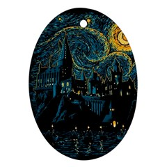 Castle Starry Night Van Gogh Parody Oval Ornament (two Sides)