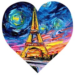 Eiffel Tower Starry Night Print Van Gogh Wooden Puzzle Heart