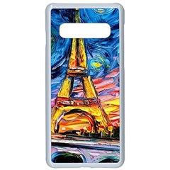Eiffel Tower Starry Night Print Van Gogh Samsung Galaxy S10 Seamless Case(white) by Bejoart
