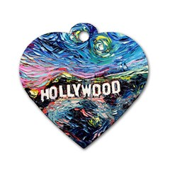 Hollywood Art Starry Night Van Gogh Dog Tag Heart (two Sides)