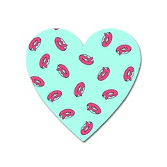Donuts Pattern Food Colourful Heart Magnet by Vaneshart