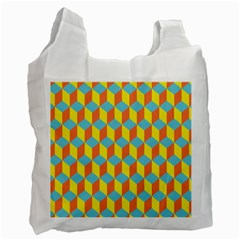 Cube Hexagon Pattern Yellow Blue Recycle Bag (two Side)