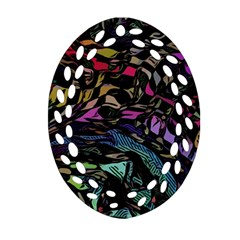 Background Drawing Colorful Pattern Oval Filigree Ornament (two Sides)