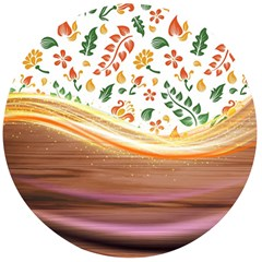 Floral Background Abstract Pattern Wooden Bottle Opener (round)