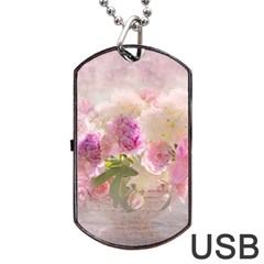 Nature Landscape Flowers Peonie Dog Tag Usb Flash (two Sides) by Vaneshart