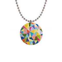 Abstract Background Colorful 1  Button Necklace