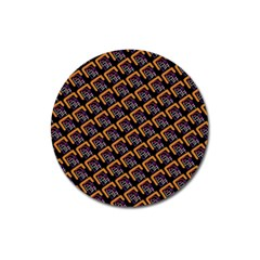 Abstract Orange Geometric Pattern Magnet 3  (round)