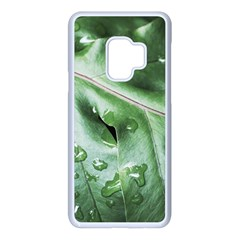 Green Wet Rain Water Drops Plant Samsung Galaxy S9 Seamless Case(white)