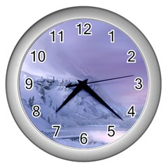 Nature Landscape Winter Snow Wall Clock (silver) by Vaneshart