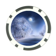 Nature Landscape Winter Poker Chip Card Guard