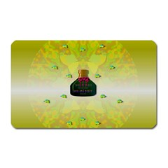 Birds And Sunshine With A Big Bottle Peace And Love Magnet (rectangular) by pepitasart