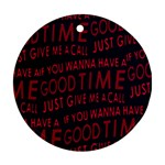 Motivational Phrase Motif Typographic Collage Pattern Ornament (Round) Front