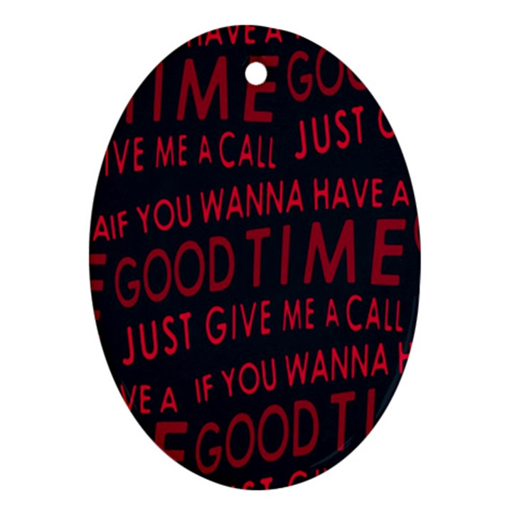 Motivational Phrase Motif Typographic Collage Pattern Ornament (Oval)