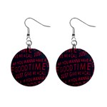 Motivational Phrase Motif Typographic Collage Pattern Mini Button Earrings Front