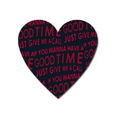 Motivational Phrase Motif Typographic Collage Pattern Heart Magnet by dflcprintsclothing