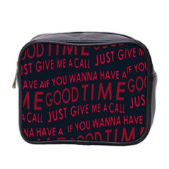 Motivational Phrase Motif Typographic Collage Pattern Mini Toiletries Bag (two Sides)