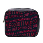 Motivational Phrase Motif Typographic Collage Pattern Mini Toiletries Bag (Two Sides) Front