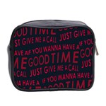 Motivational Phrase Motif Typographic Collage Pattern Mini Toiletries Bag (Two Sides) Back