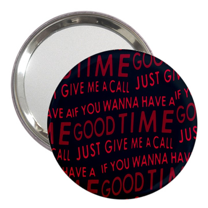 Motivational Phrase Motif Typographic Collage Pattern 3  Handbag Mirrors