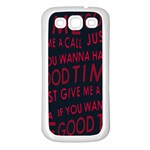 Motivational Phrase Motif Typographic Collage Pattern Samsung Galaxy S3 Back Case (White) Front