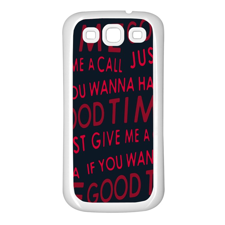 Motivational Phrase Motif Typographic Collage Pattern Samsung Galaxy S3 Back Case (White)